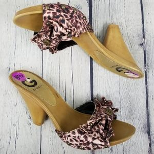 GUESS | animal print bow tapered heels